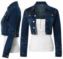 Womens Indigo Denim Jacket Ladies Blue Jean Cropped Jackets