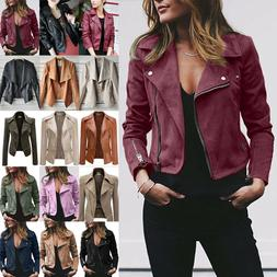 Womens Jacket Blazer Slim Fit PU Leather Punk Biker Casual Z