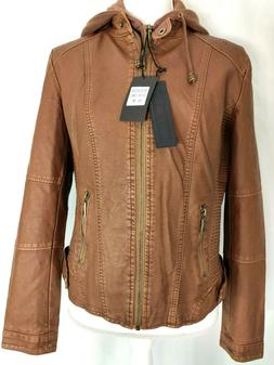 Made By Johnny Womens Jacket  Brown Camel Faux Leather Zip U