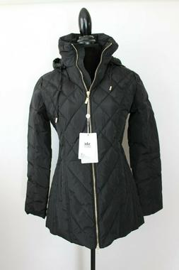 Orolay Womens Jacket Medium Black Quilted Removable Hood