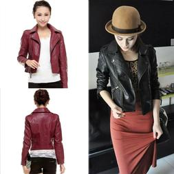 womens ladies faux leather jackets coats zip