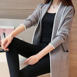 Womens Ladies Long Sleeve Coat Open Front Jacket Cardigan Ou