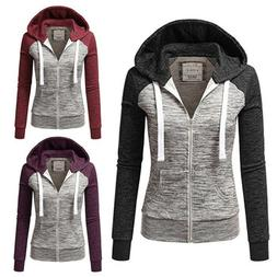 Womens Ladies Zip up Hoodie Hooded Jacket Coat Sweatshirt To