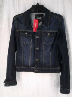 LE3NO Womens Large Denim Dark Blue Wax Jean Jacket Coat Brea