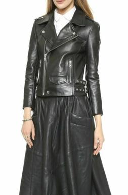 womens leather jacket black motorcycle soft real
