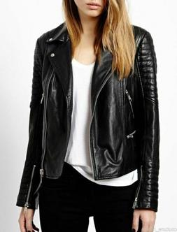Womens Leather Jacket Black Motorcycle Soft Real Lambskin Bi