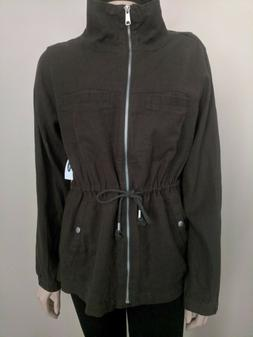 Old Navy Womens Linen Field Jacket: Size L Pesto Basil NWT $