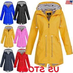 Womens Long Sleeve Hooded Wind Jacket Ladies Outdoor Waterpr
