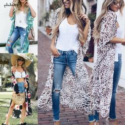 Womens Long Sleeve Loose Cardigan Floral Kimono Blouse Tops