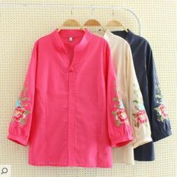 Womens loose fit coats spring plus size cotton and linen jac
