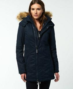 Womens Superdry Microfibre Tall SD-Windparka Jacket Navy