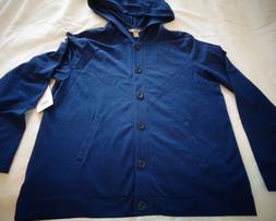 Womens Navy Blue Button-Up Light Weight Jacket with Hood by