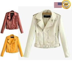 Womens Outdoor Tops Casual Faux Leather Jackets Lapel Short
