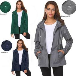womens outdoor waterproof lightweight raincoat hooded tops
