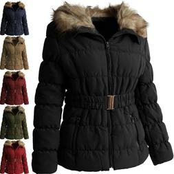 Womens PADDING JACKET FUR LINED Coat Quilted Insulated Puffe