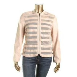 INC Womens Pink Faux Leather Mesh Inset Bomber Bomber Jacket