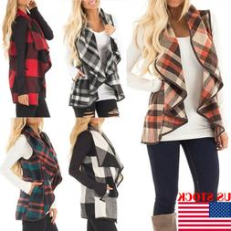 Womens Plaid Hooded Waistcoat Vest Winter Warm Casual Sleeve