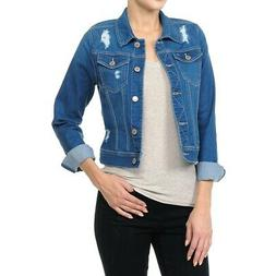 Women's Plus/Junior size Cropped Ripped Denim Jackets Long