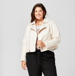 A New Day Womens Plus Size 4x Moto Jacket Cream and Gold Chr