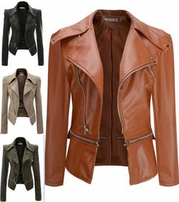 Womens Plus Size Leather Jacket Zipper Biker Ladies Casual F