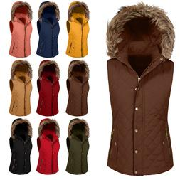 NE PEOPLE Womens Quilted Fur Vest Light Weight Jacket