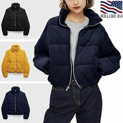 Womens Quilted Jacket High Collar Fluffy Crop Puffer Padded