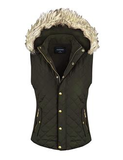 makeitmint Women's Quilted Padding Jacket Vest with Faux F