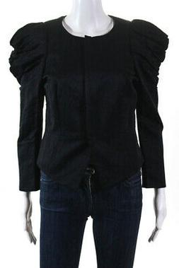 Elizabeth and James Womens Ruched Sleeves Jacket Black Cotto