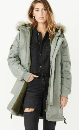 Womens Shiny Nylon Fur Lined Parka jacket coat Abercrombie &