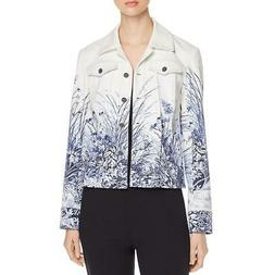 Elie Tahari Womens Silvia Lightweight Floral Denim Jacket Ou