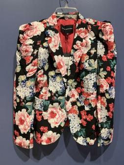 Womens Size Medium Jacket, Floral, Black, Who What Wear, NWT