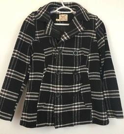 Womens Faded Glory Size S 4-6 Black White and Purple Plaid P