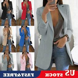 Ladies Slim Blazer Jacket Tops Out Long Sleeve Business Form