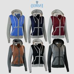 Women's Slim Fit Fleece Hoodie Full Zip jacket Sweatshirts
