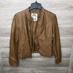 Made by Johnny Womens Small Brown Motorcycle Jacket Faux Lea