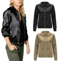 Womens Spring Satin Bomber Jacket Long Sleeve Zipper Basebal