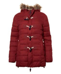 womens tall marl toggle puffer jacket burgundy