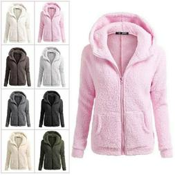Womens Thicken Fleece Fur Warm Winter Plus Size Coat Hooded