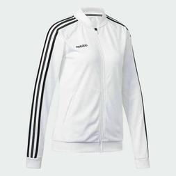Womens Adidas Track Jacket Full Zip White With Black Stripes