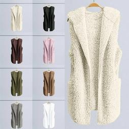 Womens Vest Winter Warm Jacket Hoodie Casual Outwear Faux Fu