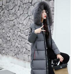 Womens Warm Fur Collar Hooded Long Down Jacket Winter Quilte