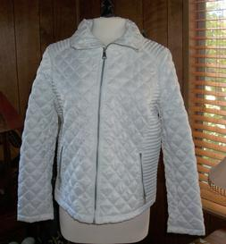 Womens White Quilted Puffer Jacket - Light Weight - NWOT Siz