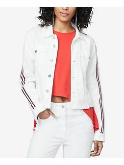 RACHEL ROY Womens White Striped Sleeve Distressed Denim Casu