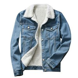 Womens Winter Warm Jean Jacket Fur Collar Fleece Lined Casua