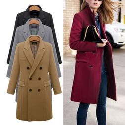 Womens Winter Wool Lapel Trench Coat Parka Jacket Button Dow