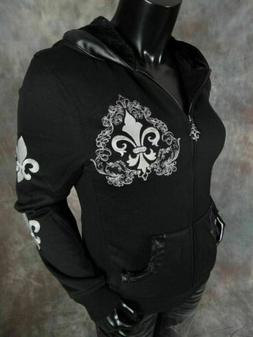 Womens VOCAL Zip-Up Hoodie Jacket with Furry Inside and Embr