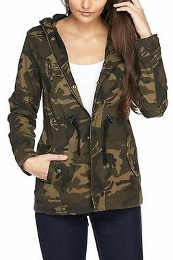 FASHION BOOMY Womens Zip Up Safari Military Anorak Jacket W/